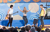 Neil Perry Kimberly Perry and Reid Perry of The Band Perry perform on ABC's 'Good Morning America' at Rumsey Playfield Central Park on August 14 2015...