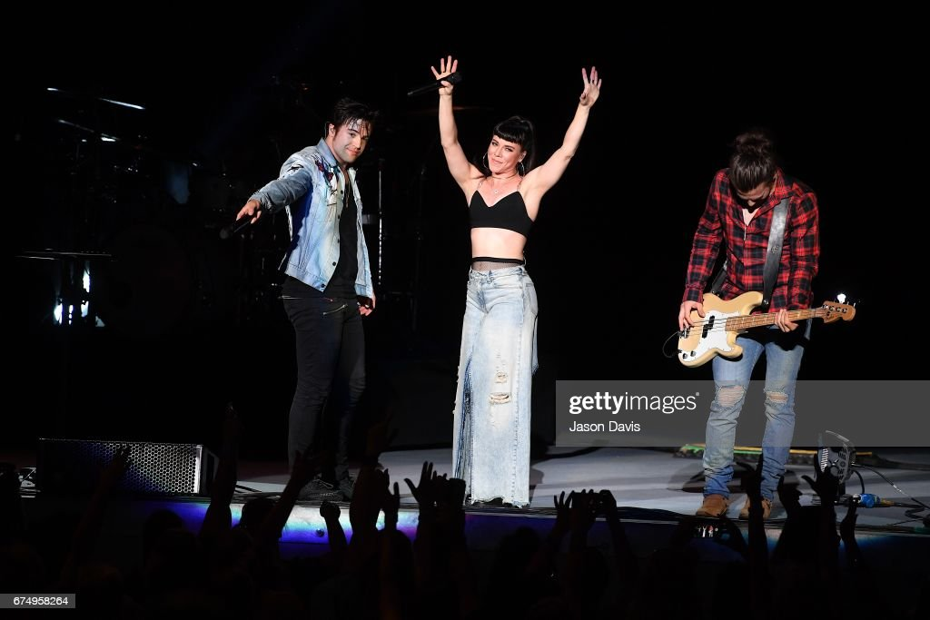 Neil Perry, Kimberly Perry and Reid Perry of The Band Perry perform on stage at the Ascend Amphitheater on April 29, 2017 in Nashville, Tennessee.