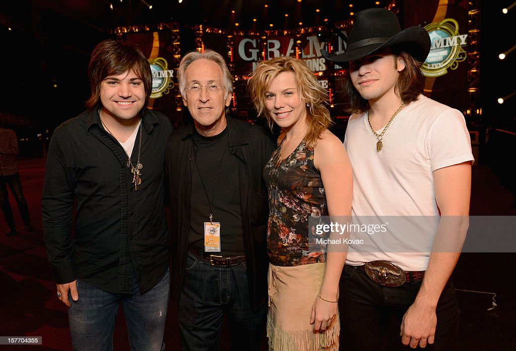 Neil Perry of The Band Perry, President/CEO of The Recording Academy <a gi-track='captionPersonalityLinkClicked' href=/galleries/search?phrase=Neil+Portnow&family=editorial&specificpeople=208909 ng-click='$event.stopPropagation()'>Neil Portnow</a>, <a gi-track='captionPersonalityLinkClicked' href=/galleries/search?phrase=Kimberly+Perry&family=editorial&specificpeople=6718325 ng-click='$event.stopPropagation()'>Kimberly Perry</a> and <a gi-track='captionPersonalityLinkClicked' href=/galleries/search?phrase=Reid+Perry&family=editorial&specificpeople=6718326 ng-click='$event.stopPropagation()'>Reid Perry</a> of The Band Perry attend The GRAMMY Nominations Concert Live!! pre-show reception held at Bridgestone Arena on December 5, 2012 in Nashville, Tennessee.
