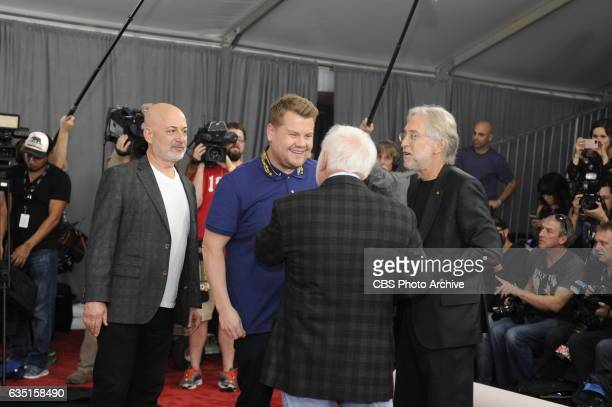 Neil Portnow Ken Ehrlich James Corden and Jack Sussman roll out the red carpet before rehearsals for THE 59TH ANNUAL GRAMMY AWARDS scheduled to...