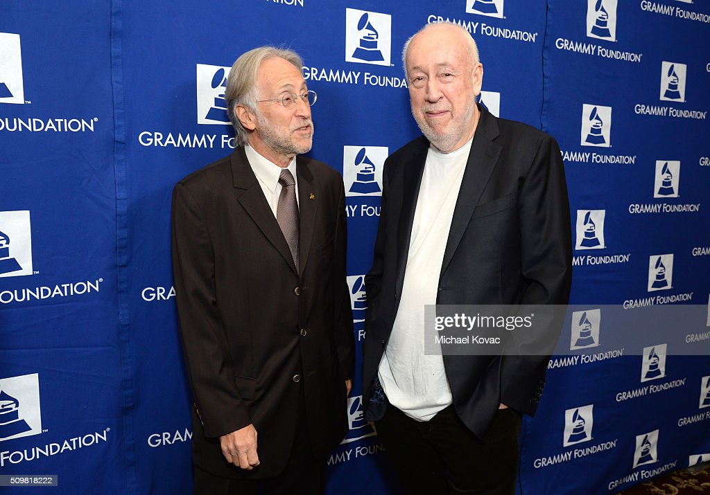 Neil Portnow (L), President and CEO of the Grammy Foundation, and Martin Mills, Founder and Chairman of the Beggars Group, attend the The 58th GRAMMY Awards Entertainment Law Initiative at Fairmont Miramar Hotel on February 12, 2016 in Santa Monica, California.