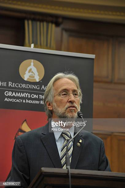 Neil Portnow speaks during the closing session of the Grammy's on the hill lobbying day in the Rayburn House building the morning started off with a...