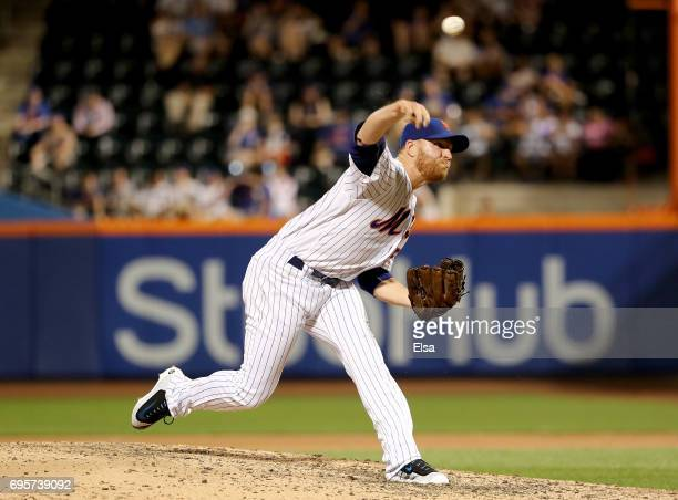 Neil Ramirez of the New York Mets delivers a pitch in the seventh inning against the Chicago Cubs on June 13 2017 at Citi Field in the Flushing...
