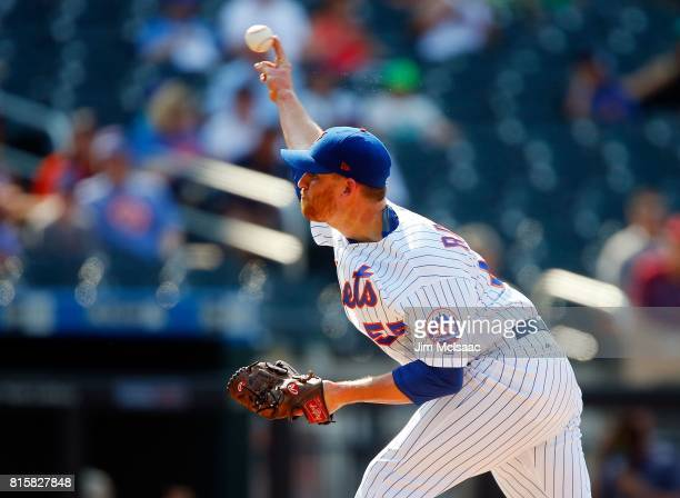 Neil Ramirez of the New York Mets in action against the Colorado Rockies on July 16 2017 at Citi Field in the Flushing neighborhood of the Queens...