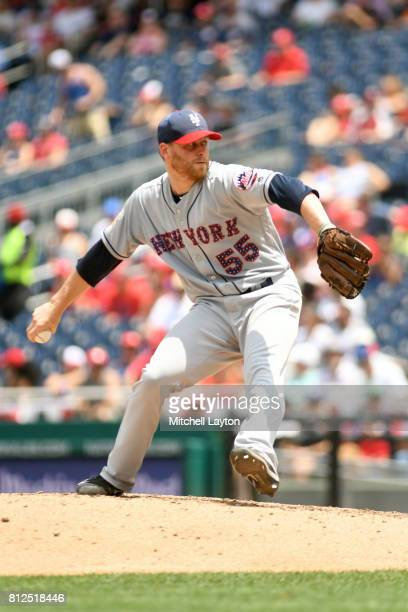 Neil Ramirez of the New York Mets pitches during a baseball game against the Washington Nationals at Nationals Park on July 4 2017 in Washington DC...