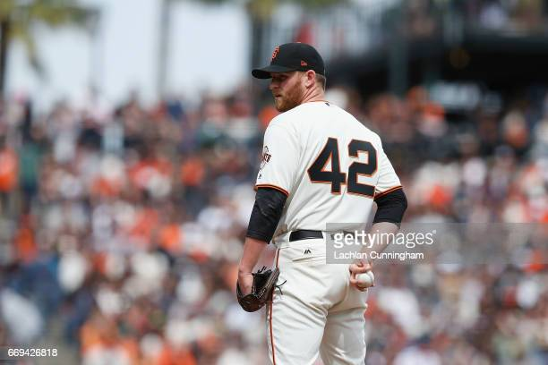 Neil Ramirez of the San Francisco Giants pitches in the sixth inning against the Colorado Rockies at ATT Park on April 15 2017 in San Francisco...