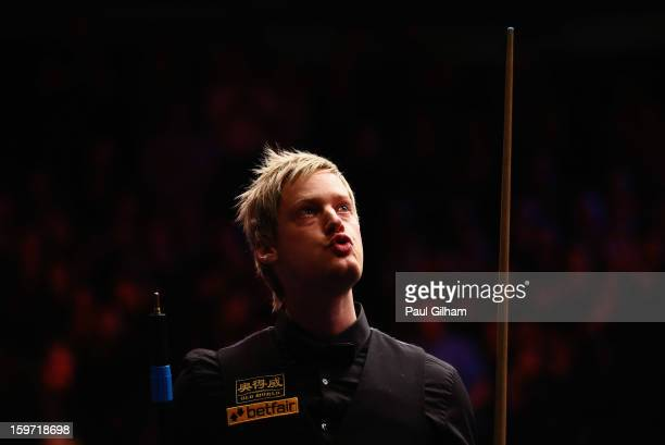 Neil Robertson of Australia celebrates making it into the final after a 62 victory in the semifinal match between Neil Robertson of Australia and...