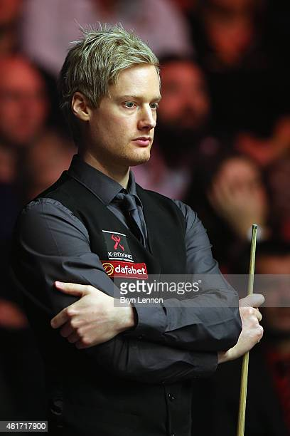 Neil Robertson of Australia looks on during the final of the Dafabet Masters at Alexandra Palace on January 18 2015 in London England