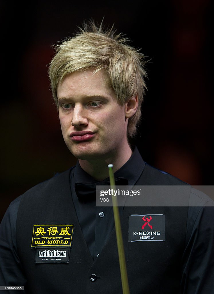 <a gi-track='captionPersonalityLinkClicked' href=/galleries/search?phrase=Neil+Robertson&family=editorial&specificpeople=668815 ng-click='$event.stopPropagation()'>Neil Robertson</a> of Australia looks on during the quarter-final match against Joe Perry of England on day four of the World Snooker Australia Open at the Bendigo Stadium on July 12, 2013 in Bendigo, Australia.