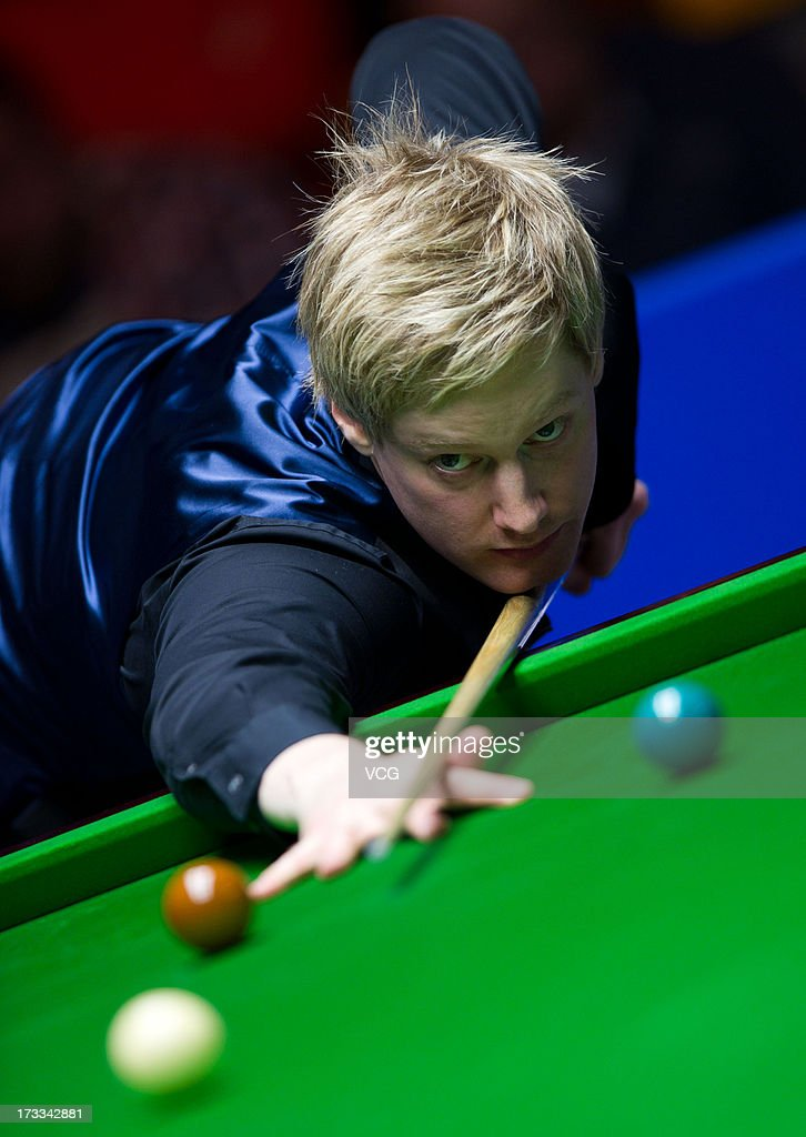 <a gi-track='captionPersonalityLinkClicked' href=/galleries/search?phrase=Neil+Robertson&family=editorial&specificpeople=668815 ng-click='$event.stopPropagation()'>Neil Robertson</a> of Australia plays a shot during the quarter-final match against Joe Perry of England on day four of the World Snooker Australia Open at the Bendigo Stadium on July 12, 2013 in Bendigo, Australia.