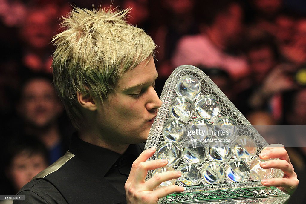 Neil Robertson of Australia poses with the trophy after vitory over Shaun Murphy of England in the The Final on day 8 of The Masters at Alexandra Palace on January 22, 2012 in London, England.