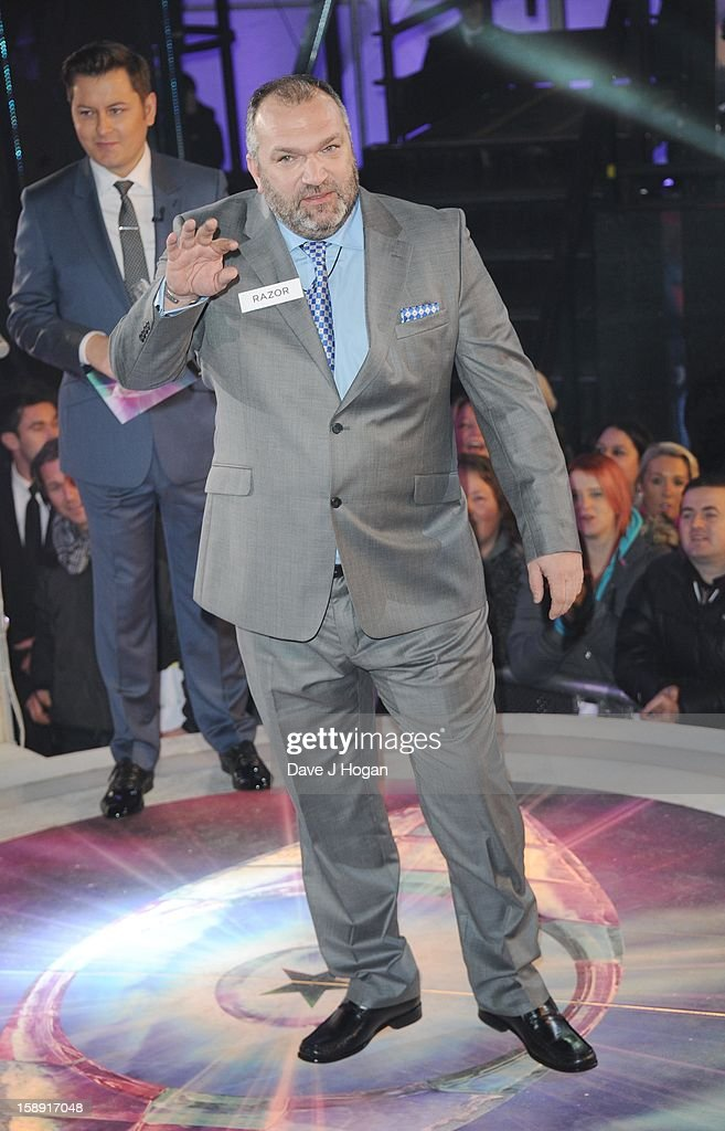 Neil Ruddock enters the Celebrity Big Brother House at Elstree Studios on January 3, 2013 in Borehamwood, England.