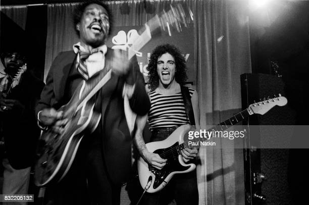 Neil Schon of Journey right with Buddy Guy at Biddy Mulligans in Chicago Illinois May 25 1980