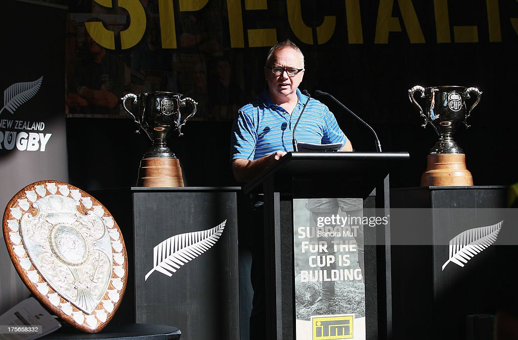 Neil Sorensen of the New Zealand Rugby Union speaks during the 2013 launch of the ITM Cup at Unitec on August 6, 2013 in Auckland, New Zealand.