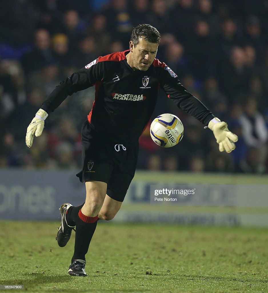 Neil Sulllivan of AFC Wimbledon in action during the npower League Two match between AFC Wimbledon and Northampton Town at The Cherry Red Records Stadium on February 19, 2013 in Kingston upon Thames, England.