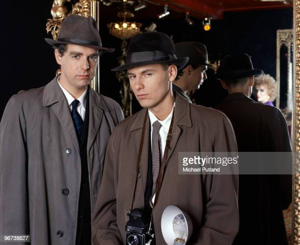Neil Tennant and Chris Lowe of English synthpop duo the Pet Shop Boys during their collaboration with Dusty Springfield on the single 'What Have I...
