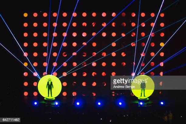 Neil Tennant and Chris Lowe of Pet Shop Boys perform at the First Direct Arena on February 18 2017 in Leeds United Kingdom