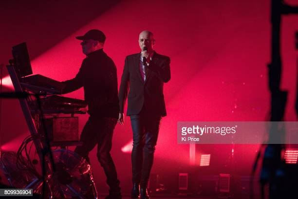 Neil Tennant and Chris Lowe of Pet Shop Boys perform at the Henley Festival on July 6 2017 in HenleyonThames England