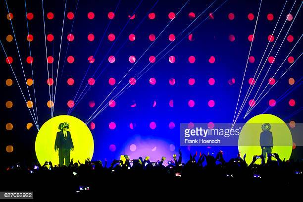 Neil Tennant and Chris Lowe of the British band Pet Shop Boys perform live during a concert at the Tempodrom on December 1 2016 in Berlin Germany