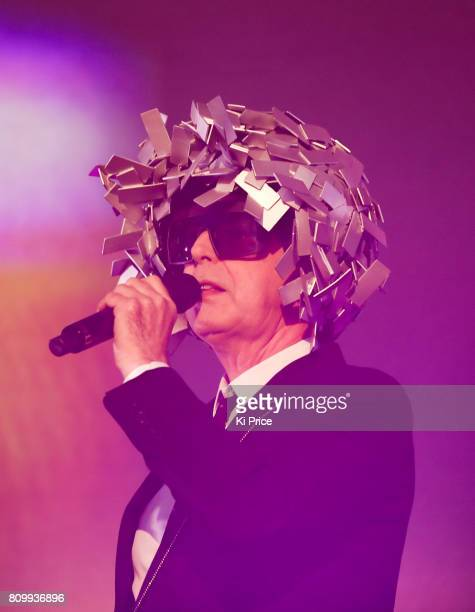 Neil Tennant of Pet Shop Boys perform at the Henley Festival on July 6 2017 in HenleyonThames England