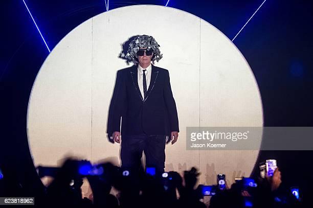 Neil Tennant of Pet Shop Boys performs on stage at Fillmore Miami Beach on November 16 2016 in Miami Beach Florida