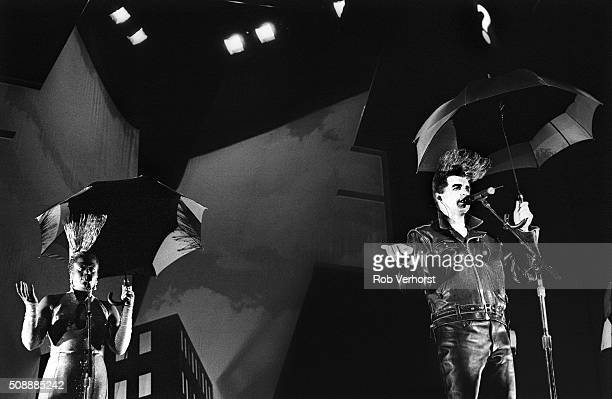 Neil Tennant of The Pet Shop Boys performs on stage at Ahoy Rotterdam Netherlands 25th May 1991