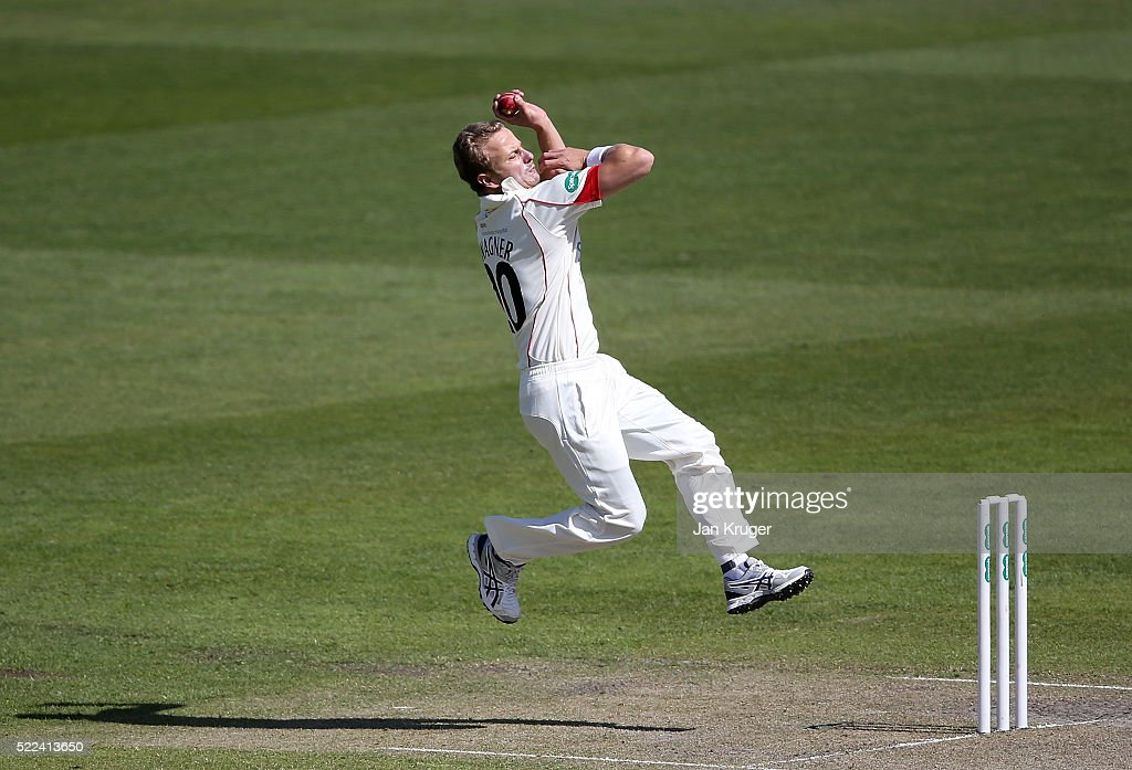 <a gi-track='captionPersonalityLinkClicked' href=/galleries/search?phrase=Neil+Wagner+-+Cricket+Player&family=editorial&specificpeople=12902899 ng-click='$event.stopPropagation()'>Neil Wagner</a> of Lancashire bowls during day three of the Specsavers County Championship Division One match between Lancashire and Nottinghamshire at Old Trafford on April 19, 2016 in Manchester, England.