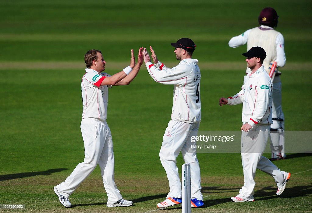 <a gi-track='captionPersonalityLinkClicked' href=/galleries/search?phrase=Neil+Wagner+-+Cricket+Player&family=editorial&specificpeople=12902899 ng-click='$event.stopPropagation()'>Neil Wagner</a> of Lancashire celebrates after dismissing Jamie Overton of Somerset during Day Three of the Specsavers County Championship Division One match between Someret and Lancashire at the County Ground on May 03, 2016 in Somerset, United Kingdom.