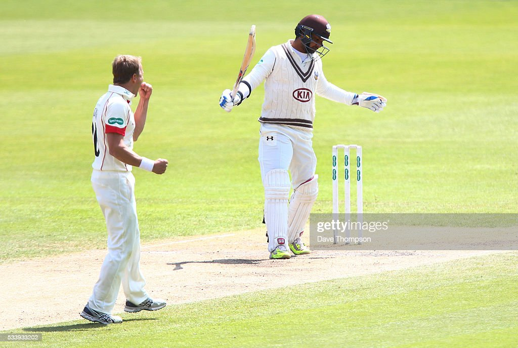 <a gi-track='captionPersonalityLinkClicked' href=/galleries/search?phrase=Neil+Wagner+-+Cricket+Player&family=editorial&specificpeople=12902899 ng-click='$event.stopPropagation()'>Neil Wagner</a> of Lancashire celebrates taking the wicket of <a gi-track='captionPersonalityLinkClicked' href=/galleries/search?phrase=Kumar+Sangakkara&family=editorial&specificpeople=206804 ng-click='$event.stopPropagation()'>Kumar Sangakkara</a> of Surrey during the Specsavers County Championship Division One match between Lancashire and Surrey at The Emirates Old Trafford Cricket Ground on May 24, 2016 in Manchester, England.