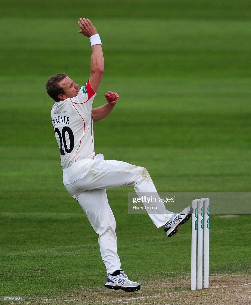 <a gi-track='captionPersonalityLinkClicked' href=/galleries/search?phrase=Neil+Wagner+-+Cricketspelare&family=editorial&specificpeople=12902899 ng-click='$event.stopPropagation()'>Neil Wagner</a> of Lancashire during Day Three of the Specsavers County Championship Division One match between Someret and Lancashire at the County Ground on May 03, 2016 in Somerset, United Kingdom.