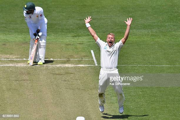 Neil Wagner of New Zealand appeals for the wicket of MisbahulHaq of Pakistan during day two of the First Test between New Zealand and Pakistan at...