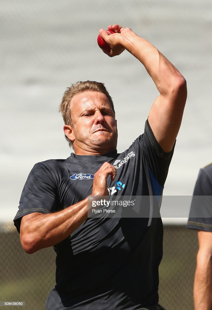<a gi-track='captionPersonalityLinkClicked' href=/galleries/search?phrase=Neil+Wagner+-+Cricket+Player&family=editorial&specificpeople=12902899 ng-click='$event.stopPropagation()'>Neil Wagner</a> of New Zealand bowls during a New Zealand nets session at Basin Reserve on February 11, 2016 in Wellington, New Zealand.