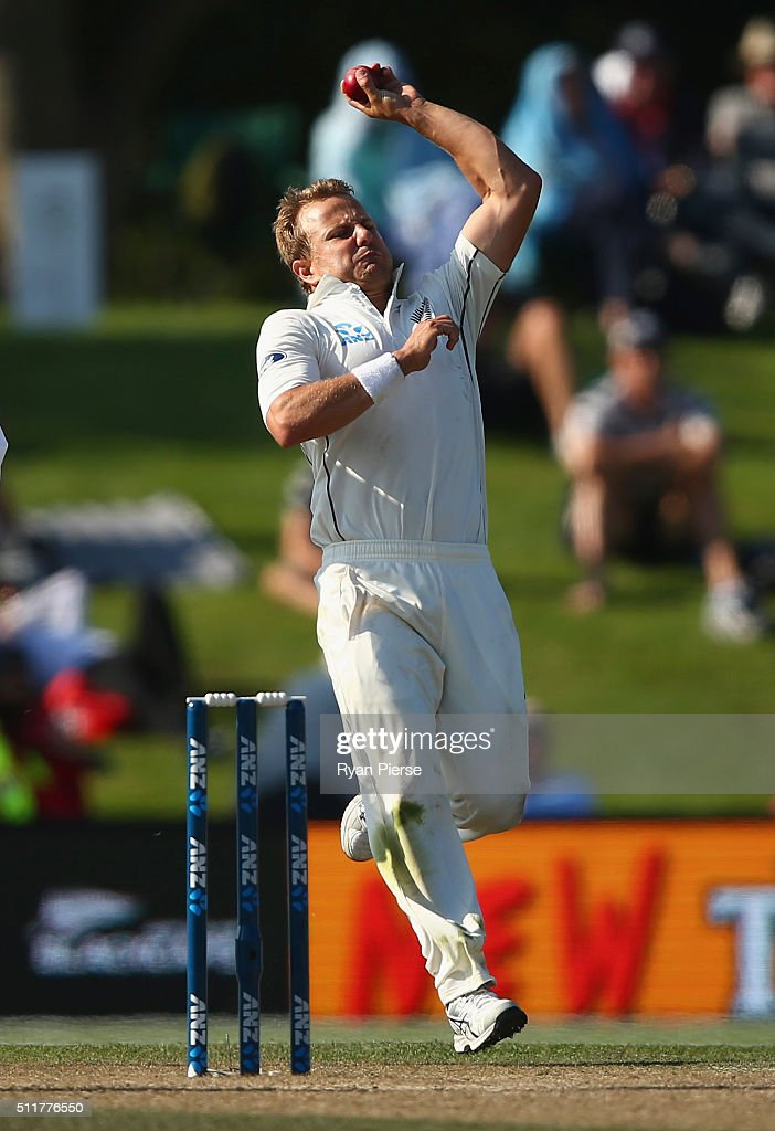 <a gi-track='captionPersonalityLinkClicked' href=/galleries/search?phrase=Neil+Wagner+-+Cricket+Player&family=editorial&specificpeople=12902899 ng-click='$event.stopPropagation()'>Neil Wagner</a> of New Zealand bowls during day four of the Test match between New Zealand and Australia at Hagley Oval on February 23, 2016 in Christchurch, New Zealand.