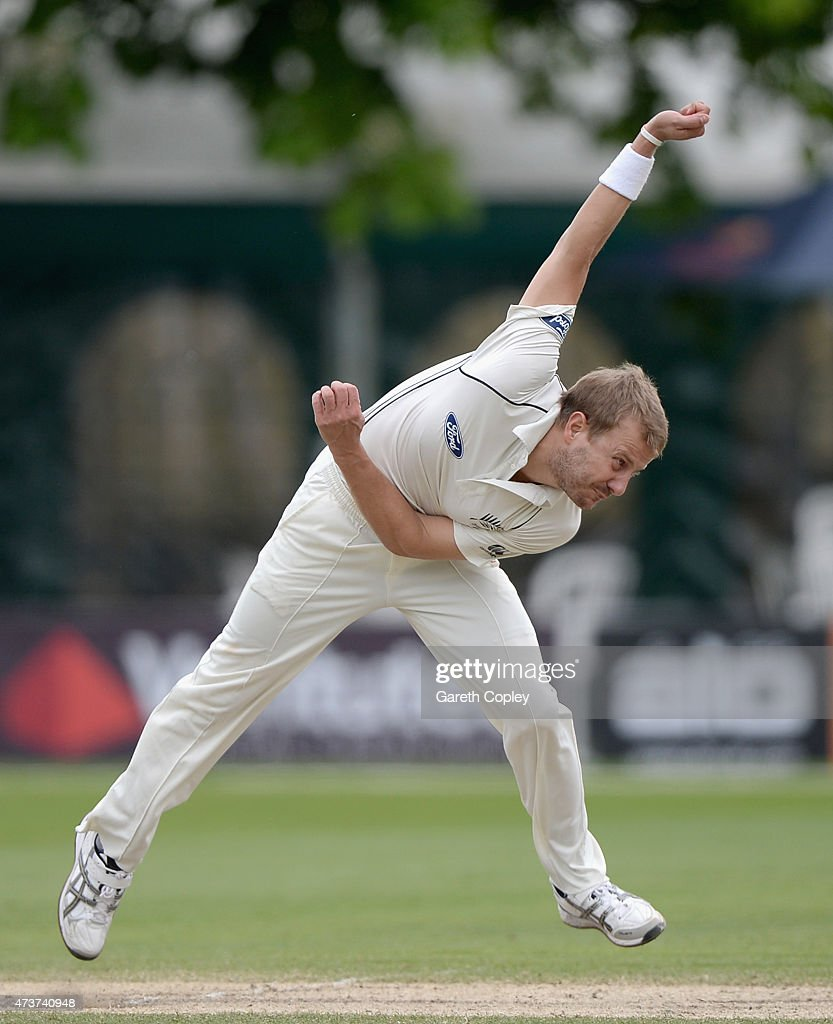 <a gi-track='captionPersonalityLinkClicked' href=/galleries/search?phrase=Neil+Wagner+-+Cricket+Player&family=editorial&specificpeople=12902899 ng-click='$event.stopPropagation()'>Neil Wagner</a> of New Zealand bowls during day four of the tour match between Worcestershire and New Zealand at New Road on May 17, 2015 in Worcester, England.