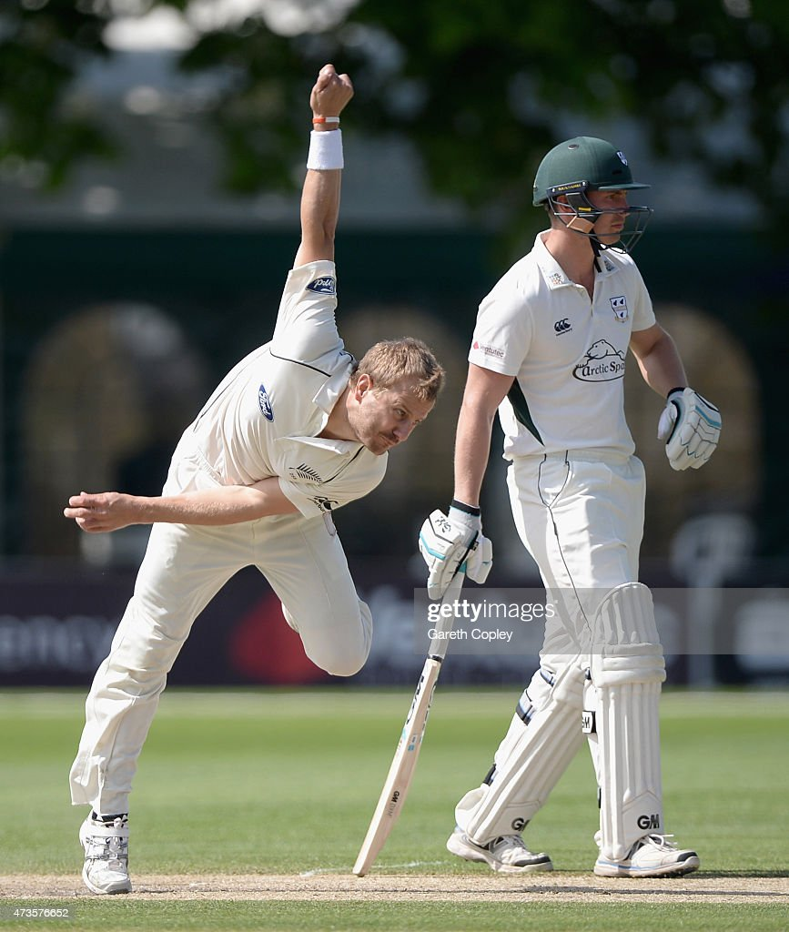 <a gi-track='captionPersonalityLinkClicked' href=/galleries/search?phrase=Neil+Wagner+-+Cricket+Player&family=editorial&specificpeople=12902899 ng-click='$event.stopPropagation()'>Neil Wagner</a> of New Zealand bowls during day three of the tour match between Worcestershire and New Zealand at New Road on May 16, 2015 in Worcester, England.
