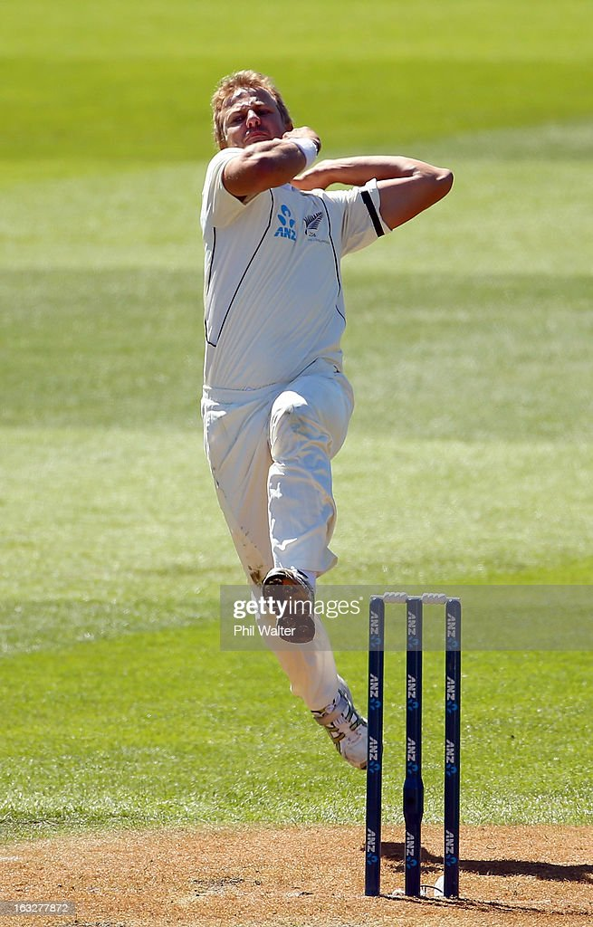 Neil Wagner of New Zealand bowls during day two of the First Test match between New Zealand and England at University Oval on March 7, 2013 in Dunedin, New Zealand.