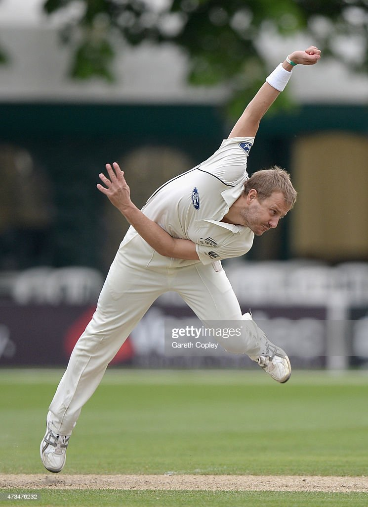 <a gi-track='captionPersonalityLinkClicked' href=/galleries/search?phrase=Neil+Wagner+-+Cricket+Player&family=editorial&specificpeople=12902899 ng-click='$event.stopPropagation()'>Neil Wagner</a> of New Zealand bowls during the Tour Match between Worcestershire and New Zealand at New Road on May 15, 2015 in Worcester, England.