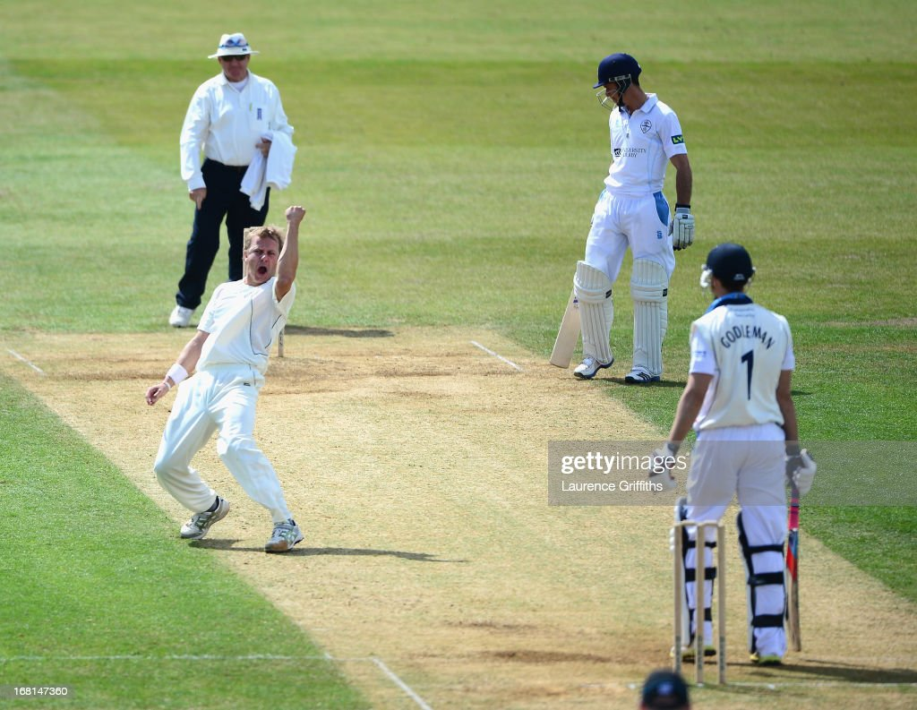 Neil Wagner of New Zealand celebrate the wicket of Billy Godleman of Derbyshire during the Tour match between Derbyshire and New Zealand at The County Ground on May 6, 2013 in Derby, England.