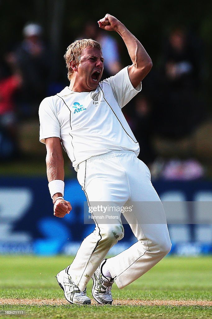 Neil Wagner of New Zealand celebrates after claiming the wicket of Nick Compton of England during day five of the First Test match between New Zealand and England at University Oval on March 10, 2013 in Dunedin, New Zealand.