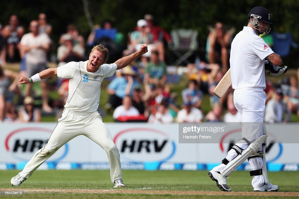 Neil Wagner of New Zealand celebrates after claiming the wicket of <a gi-track='captionPersonalityLinkClicked' href=/galleries/search?phrase=Kevin+Pietersen+-+Cricket+Player&family=editorial&specificpeople=202001 ng-click='$event.stopPropagation()'>Kevin Pietersen</a> of England during day five of the First Test match between New Zealand and England at University Oval on March 10, 2013 in Dunedin, New Zealand.