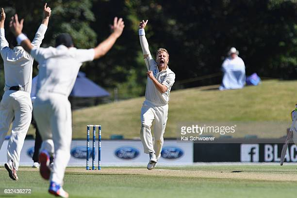 Neil Wagner of New Zealand celebrates after dismissing Nurul Hasan Sohan of Bangladesh during day four of the Second Test match between New Zealand...