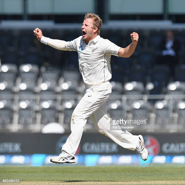 Neil Wagner of New Zealand celebrates after dismissing Sabbir Rahman of Bangladesh during day four of the Second Test match between New Zealand and...