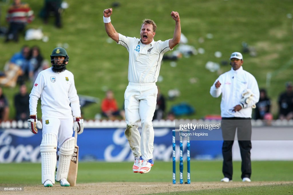Neil Wagner of New Zealand celebrates after taking the wicket of Dean Elgar of South Africa during day three of the test match between New Zealand and South Africa at Basin Reserve on March 18, 2017 in Wellington, New Zealand.