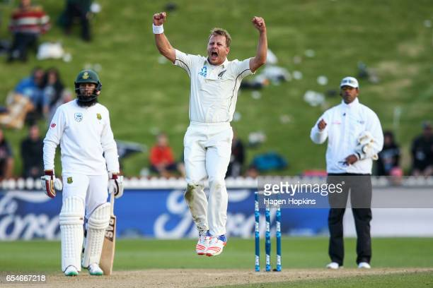 Neil Wagner of New Zealand celebrates after taking the wicket of Dean Elgar of South Africa during day three of the test match between New Zealand...