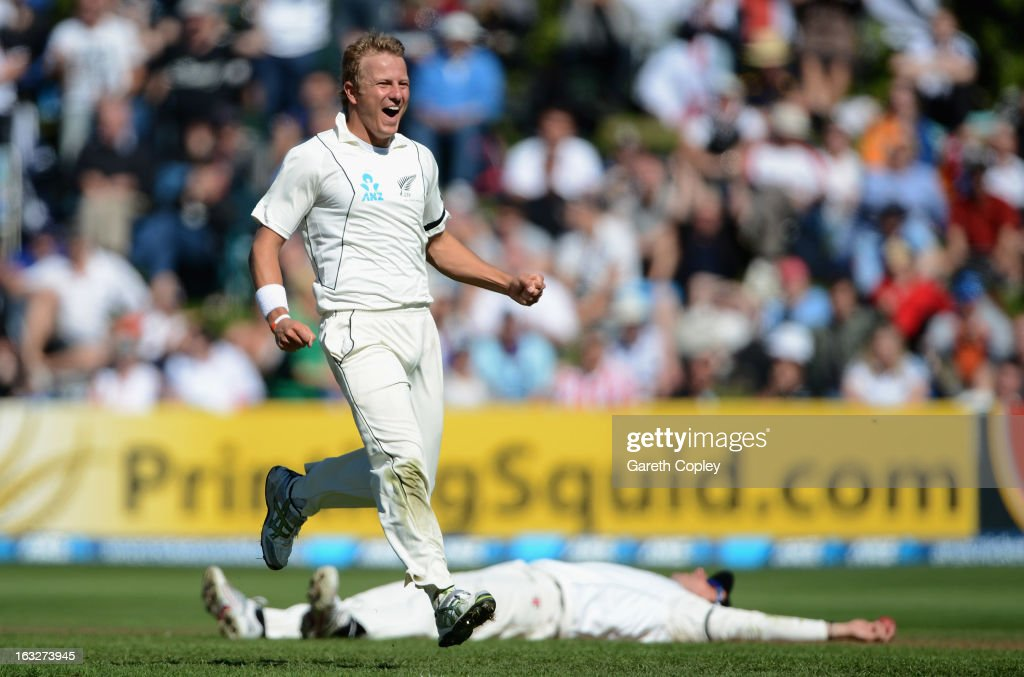Neil Wagner of New Zealand celebrates dismissing Ian Bell of England during day two of the First Test match between New Zealand and England at University Oval on March 7, 2013 in Dunedin, New Zealand.