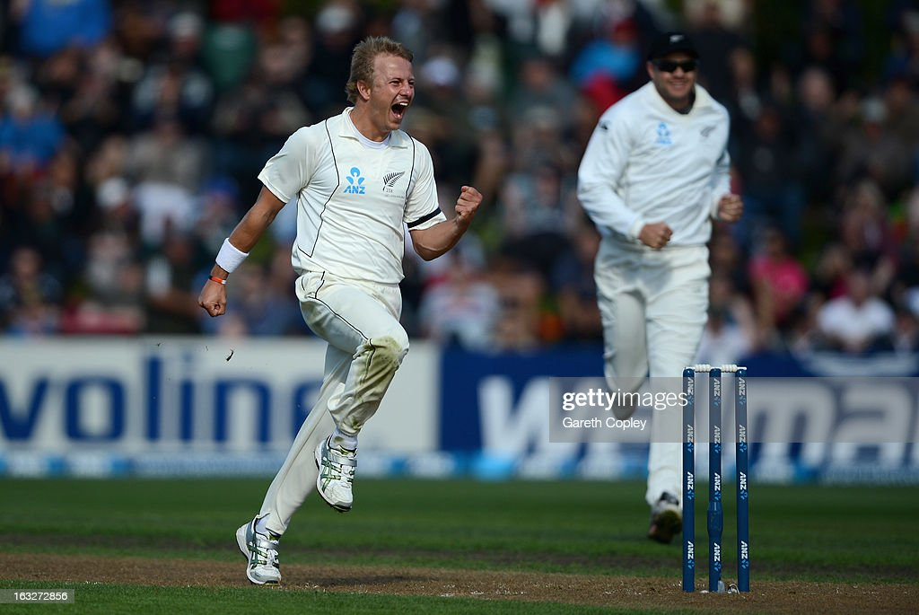 Neil Wagner of New Zealand celebrates dismissing Kevin Pietersen of England during day two of the First Test match between New Zealand and England at University Oval on March 7, 2013 in Dunedin, New Zealand.
