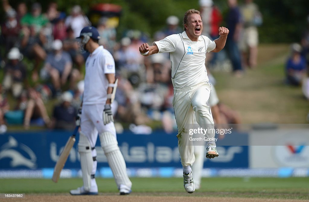 Neil Wagner of New Zealand celebrates dismissing <a gi-track='captionPersonalityLinkClicked' href=/galleries/search?phrase=Kevin+Pietersen+-+Cricket+Player&family=editorial&specificpeople=202001 ng-click='$event.stopPropagation()'>Kevin Pietersen</a> of England during day five of the First Test match between New Zealand and England at University Oval on March 10, 2013 in Dunedin, New Zealand.