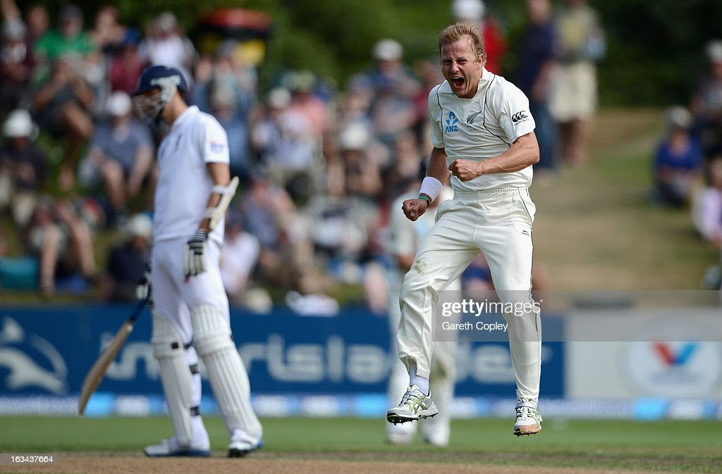 Neil Wagner of New Zealand celebrates dismissing Kevin Pietersen of England during day five of the First Test match between New Zealand and England at University Oval on March 10, 2013 in Dunedin, New Zealand.
