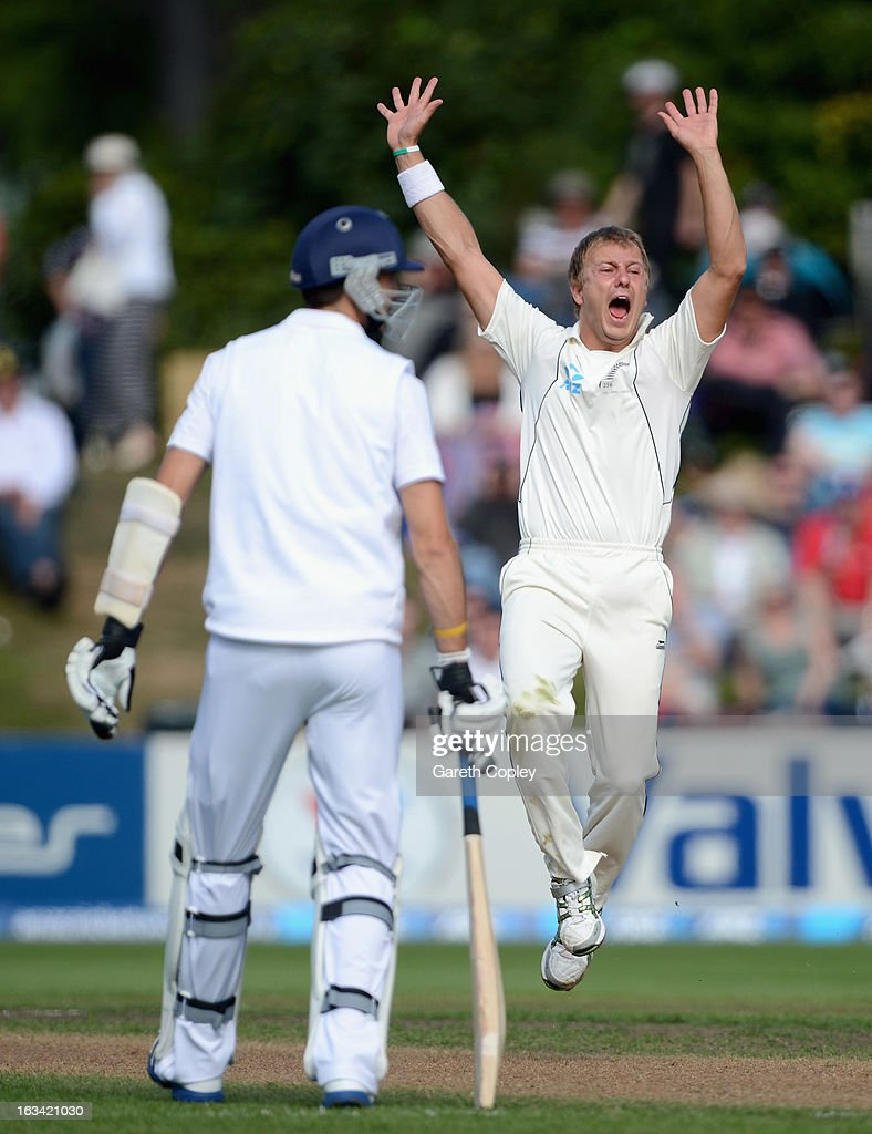 Neil Wagner of New Zealand celebrates dismissing Nick Compton of England during day five of the First Test match between New Zealand and England at University Oval on March 10, 2013 in Dunedin, New Zealand.