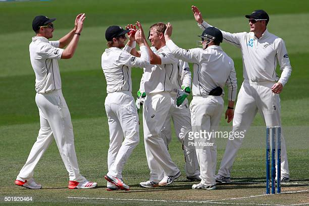 Neil Wagner of New Zealand celebrates his wicket of Suranga Lakmal of Sri Lanka during day two of the Second Test match between New Zealand and Sri...